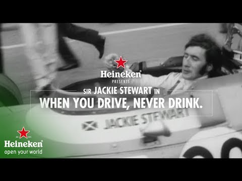 Sir Jackie Stewart, three-time world champion in Formula 1 race cars, appears in an Heineken advertisement that was previewed during the Heineken USA's annual holiday party at its White Plains headquarters.