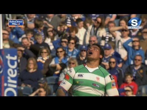 Kirchner and Loamanu collide mid air - Leinster v Benetton Treviso 18th April 2014