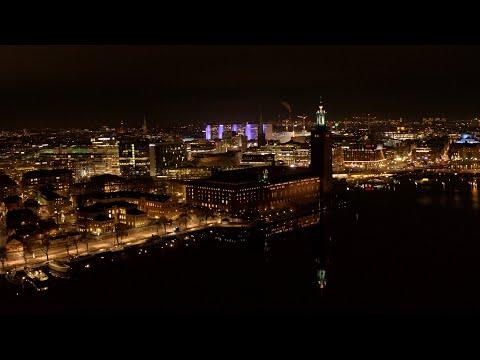 5564. Stadshuset (Stockholm City Hall - Nobel) Drone Stock Footage Video