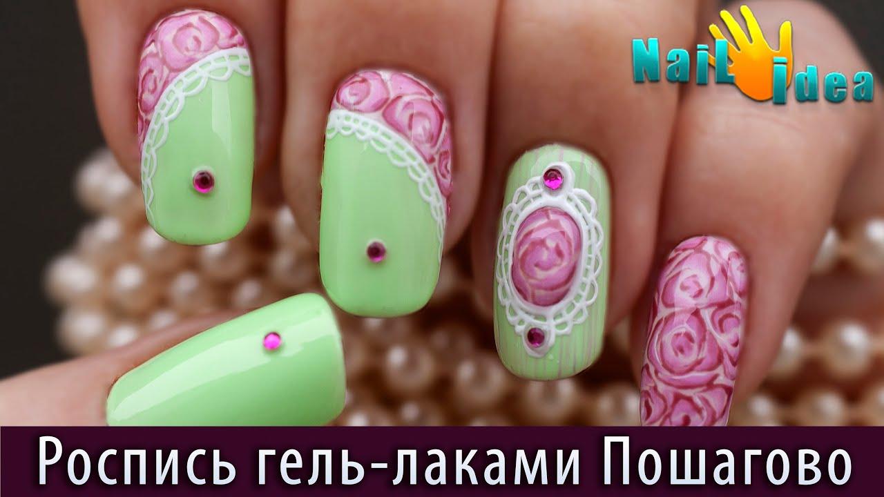 фото дизайн ногтей с розами