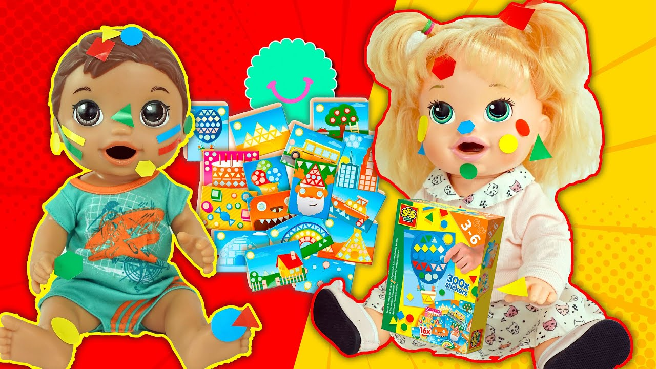 Sara y Luke Baby Alive juegan con PEGATINAS de colores
