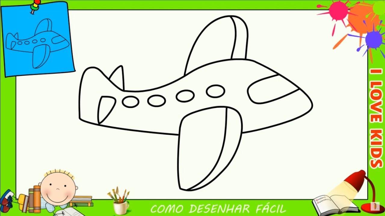 como desenhar um avião facil passo a passo para crianças e