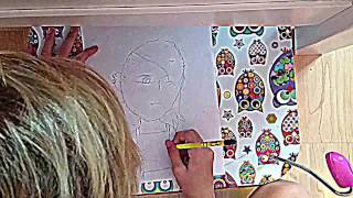 Anime  punk girl drawing time lapse