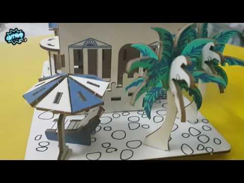 Lắp ráp mô hình nhà nghỉ dưỡng cực đẹp [ Miniature Holiday Home model ] Woodcraft assembly kit 3D