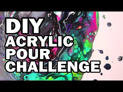 🦄 DIY Unicorn Acrylic Pour Challenge - Man Vs Corinne Vs Art #2