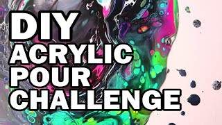 🦄 DIY Unicorn Acrylic Pour Challenge - Man Vs Corinne Vs Art #2