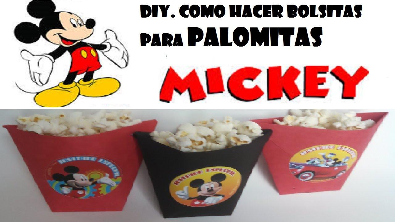 COMO HACER BOLSITAS PARA PALOMITAS O PAPAS MICKEY MOUSE - YouTube