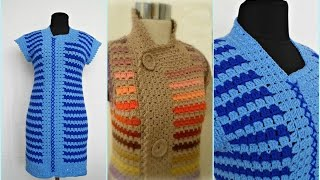 Туника крючком для начинающих. №1 часть.Crochet Blue Blouse. №1 part.