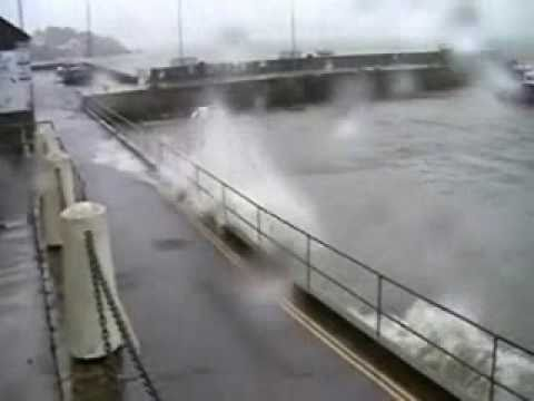 Storm force winds and waves slam Baltimore Harbour, West Cork, Ireland.