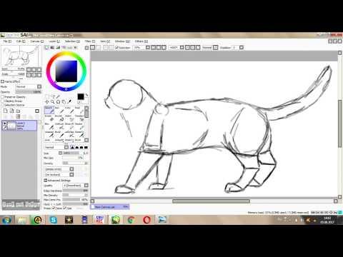 Как нарисовать кота в пейнте