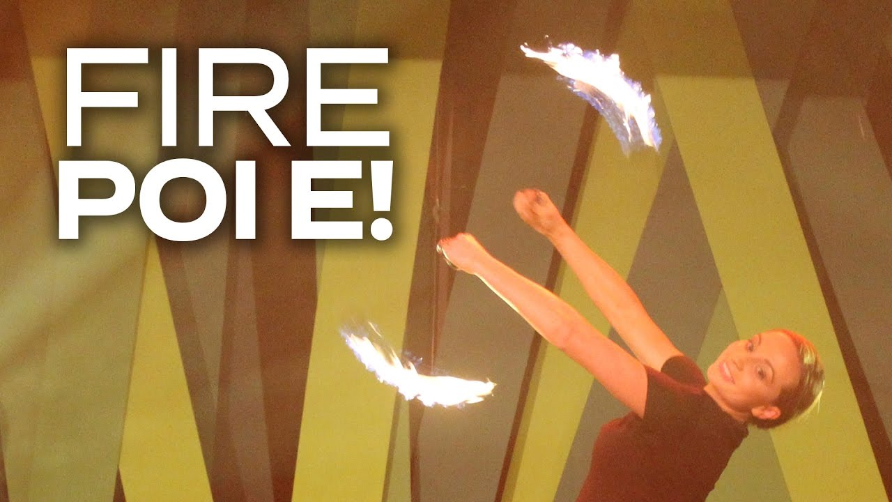 SPINNING POI OF FIRE! - Adam & Eve go head to head in an epic fire poi showdown!