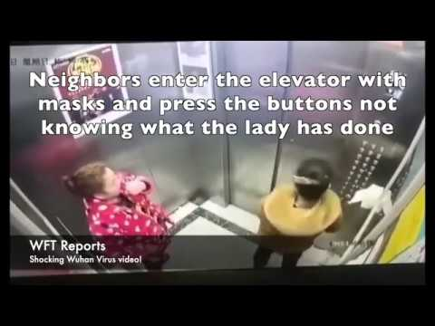 Lady in China infecting elevator by spitting in elevator in Wuhan