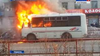 Скачать ПАЗик в огне в Нерехте в субботу сгорел рейсовый автобус