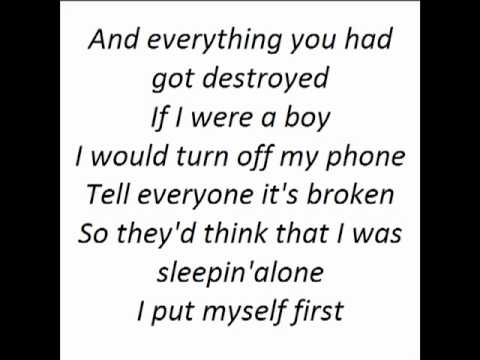 Beyonce - If I Were A Boy (Lyrics) - YouTube