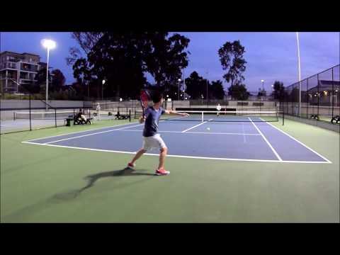 Just a couple of tennis fanatics having a hit :)