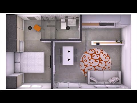 Dise o interior minipiso femenino 35 m2 doovi for Departamentos 35 metros cuadrados