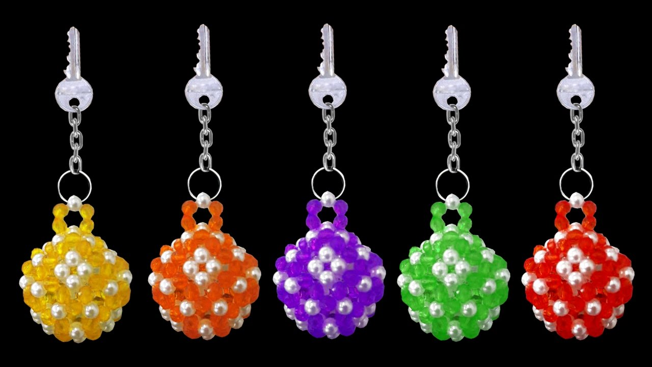 How to make crystal beaded keychains diy beaded for How to make beads craft