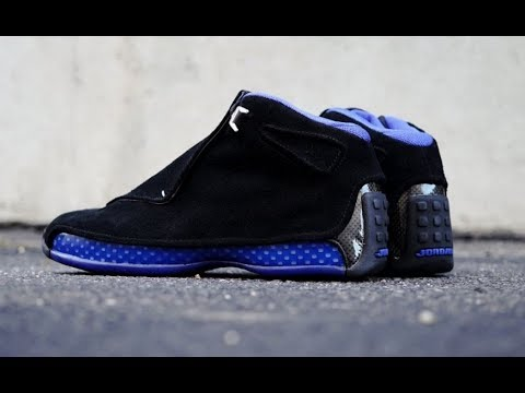 9e30f29429c AIR JORDAN 18 BLACK BLUE ROYAL OG RETRO SNEAKER DETAILED LOOK REVIEW ...