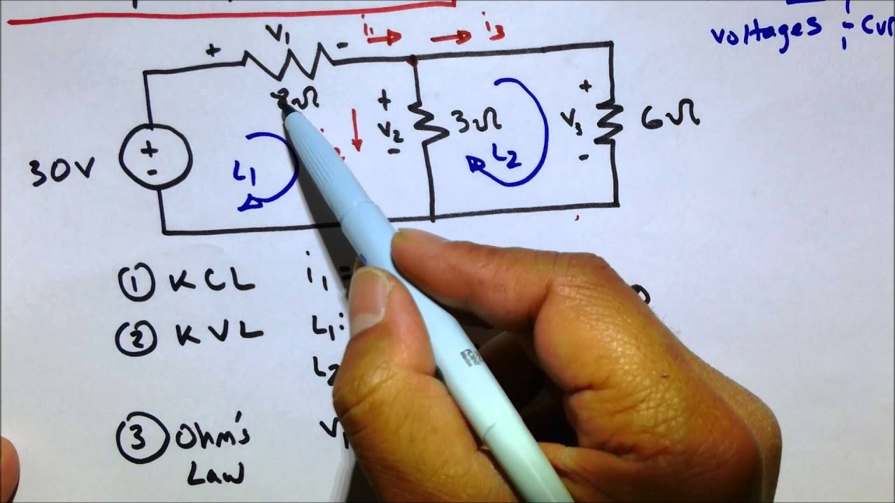 Kvl Kcl Ohms Law Circuit Practice Problem Youtube Solve Elec Electrical Circuits Analysis And Resolution