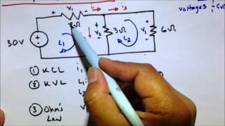 KVL KCL Ohm's Law Circuit Practice Problem