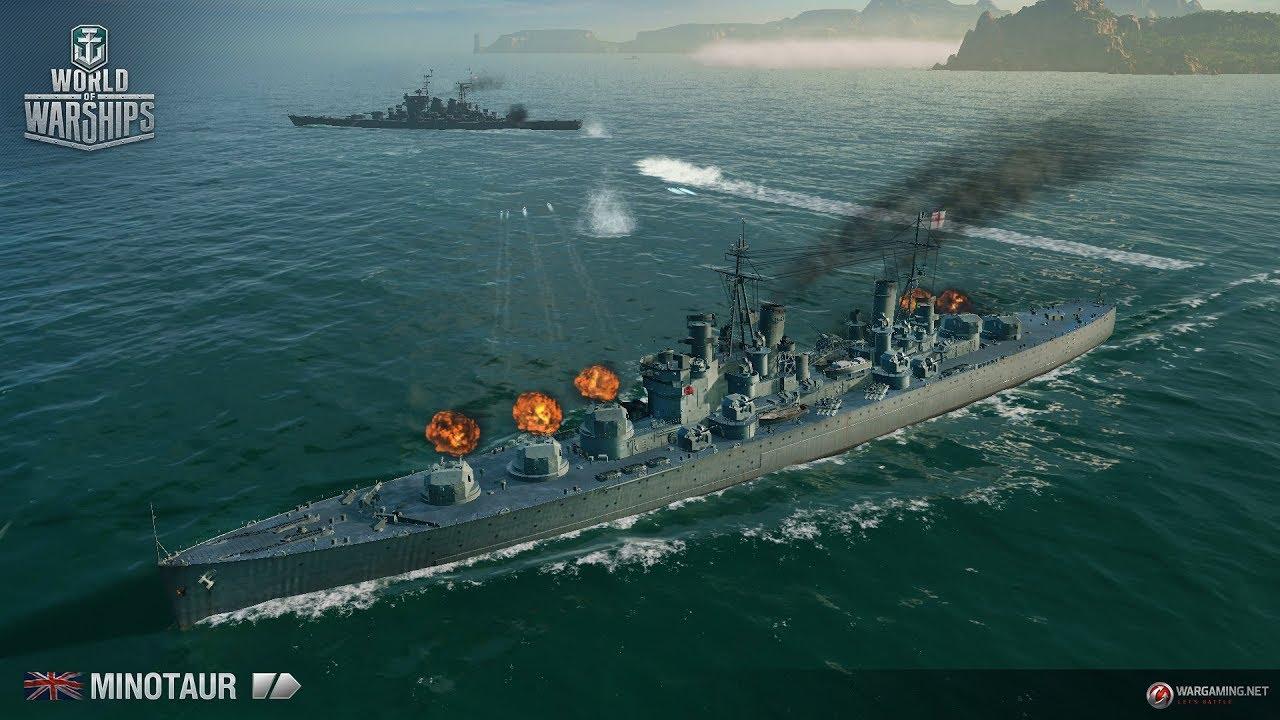 WOWs Blitz. Обзор крейсера Британии Minotaur.