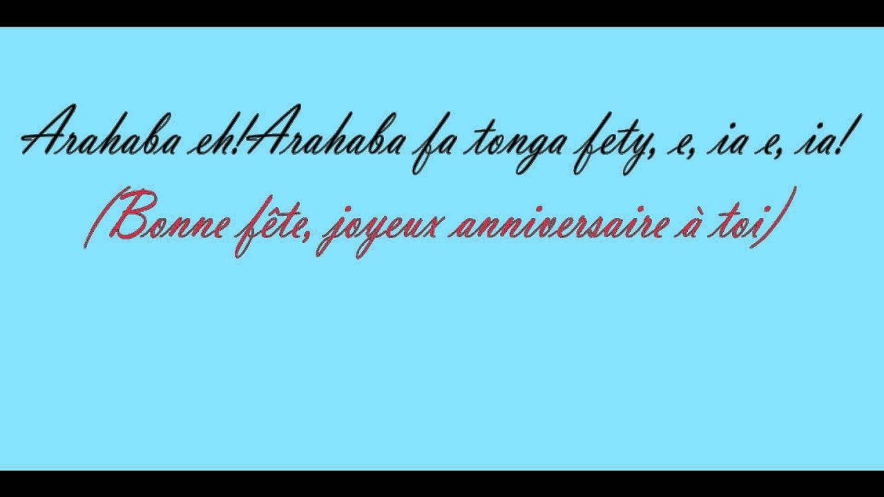Arahaba Eh Arahabaina Fa Tonga Fety Bonne Fête Joyeux Anniversaire