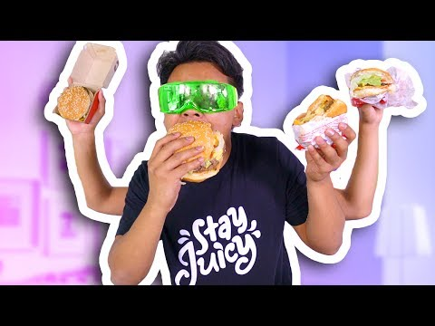 Thumbnail: BLIND BURGER TASTE TEST CHALLENGE! (McDonalds, Burger King, and more)