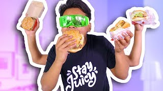BLIND BURGER TASTE TEST CHALLENGE! (McDonalds, Burger King, and more)