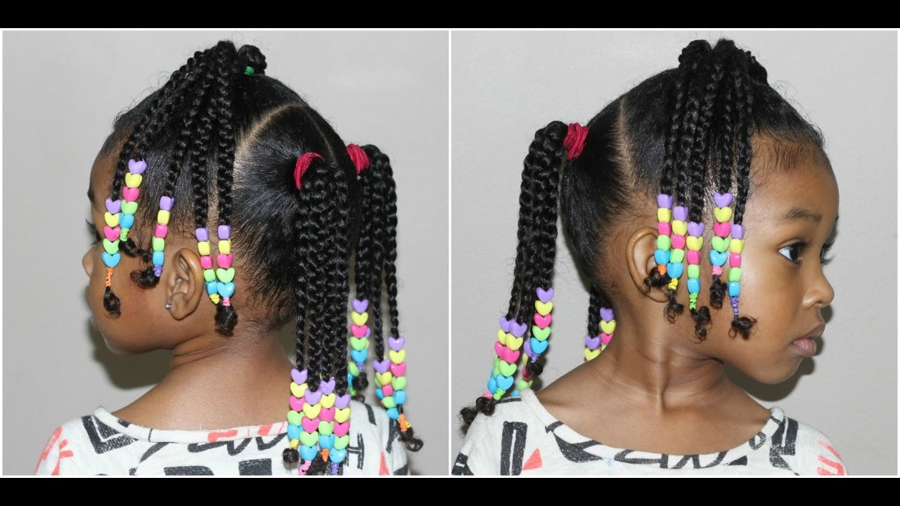 Kids Braided Hairstyle With Beads Cute Hairstyles For Girls Youtube