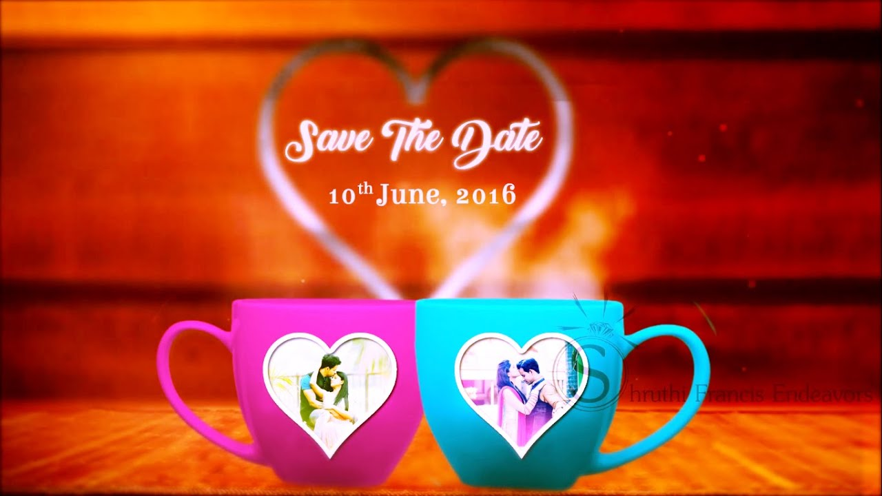Wedding Invitation and Save the Date Video - Coffee Cups Love Story ...