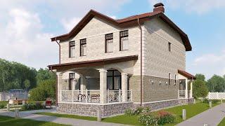 Проект дома в классическом стиле из кирпича. Дом с эркером и террасой. Ремстройсервис KR-206