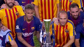 Gerard pique's touch off a free kick proved the match-winner as fc barcelona topped real madrid 3-2 in international champions cup's el clasico miami. (c...