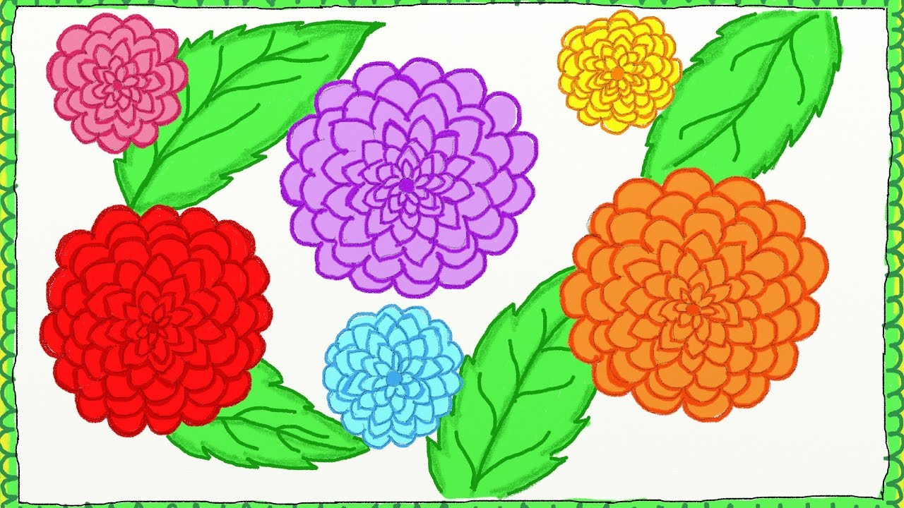Drawing Simple Dahlia Flowers How To Draw Dahlia Flowers Drawing