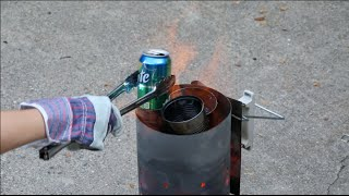 Smelting aluminum cans, hard drive platters and computer parts with homemade smelter.