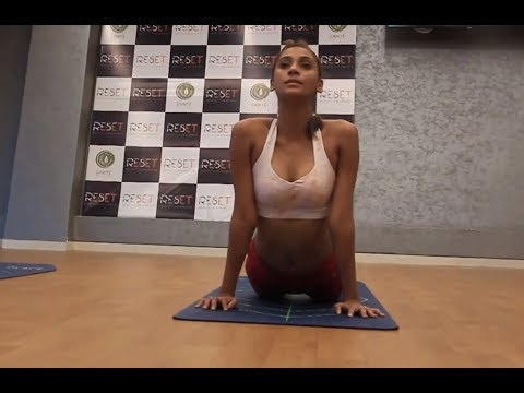 Anukreethy Vas practices intense yoga workout at the Reset gym