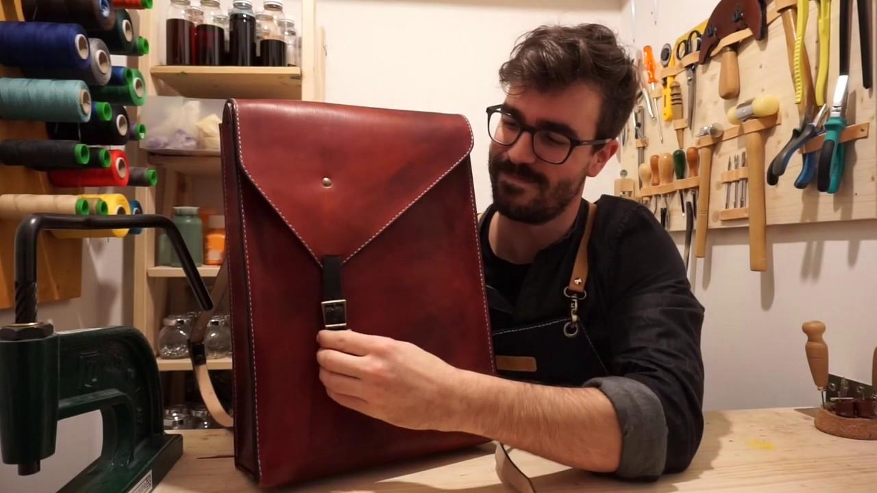 Making of Handmade leather backpack