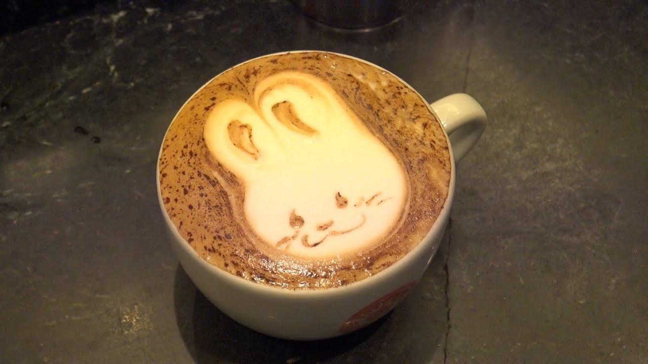 design cappuccino latte art rabbit デザインカプチーノ ラテアート