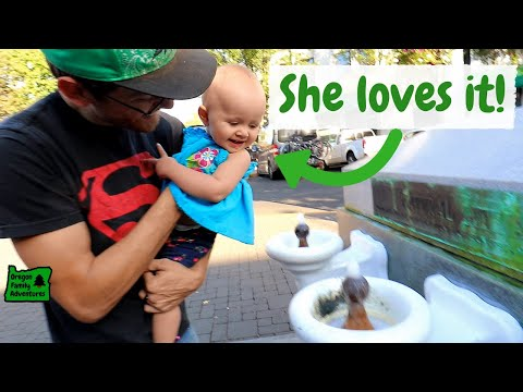 Baby Drinks Gross Water in Ashland, Oregon | Lithia Fountain