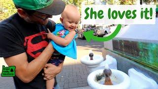 Baby Drinks Gross Water in Ashland, Oregon | Lithia Fountain