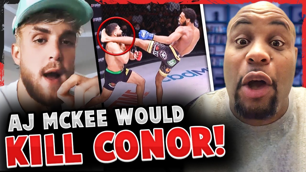 Reactions to the 1st rd FINISH in Patricio Pitbull vs A.J. McKee! Jake Paul REACTS! Daniel Cormier