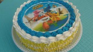 Bolo Super Wings - Bolo de aniversário infantil decorado com papel arroz e chantilly