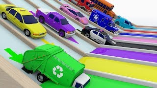 Colors with Street Vehicles | Colors with Paints Trucks | Colors for Children | Monster Truck Colors