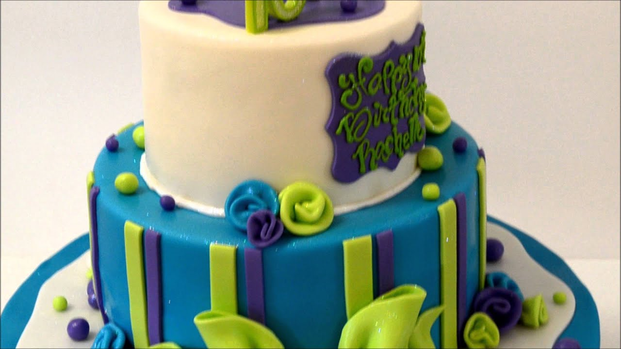 Birthday Cake Design In Blue And Green Youtube