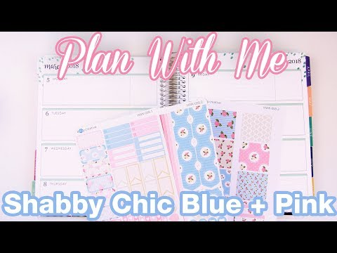 Shabby Chic Pink + Blue - Plan With Me - Erin Condren Horizontal - March 2 2017