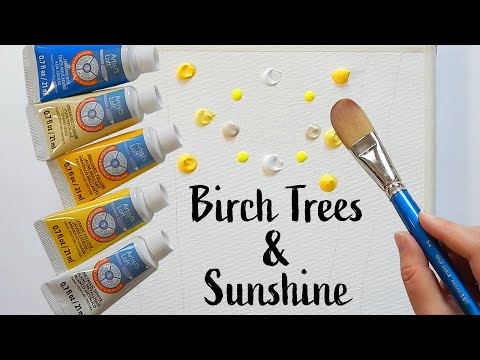 Birch Trees & Sunshine – Landscape Acrylic Painting on Canvas – Step by Step – Satisfying Demo