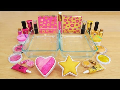 Pink vs Gold - Mixing Makeup Eyeshadow Into Slime! Special Series 121 Satisfying Slime Video