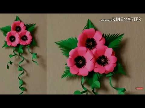 Paper Flower Wall Hanging - Easy Wall Decoration Ideas - Paper Crafts - DIY Wall Decor