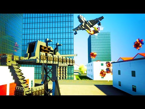 LARGEST FLAK CANNON SHOOTS DOWN WAR PLANES MULTIPLAYER STYLE - Brick Rigs Gameplay w/Neilogical