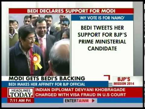 My vote is for Narendra Modi, declares Kiran Bedi