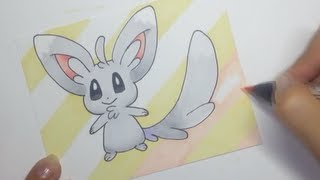 Drawing Pokemon Minccino with Copic markers